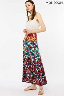 Monsoon Blue Mela Print Maxi Skirt