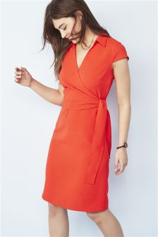 Woven Collar Wrap Dress