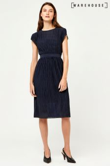 Warehouse Navy Wide Pleat Plisse Dress