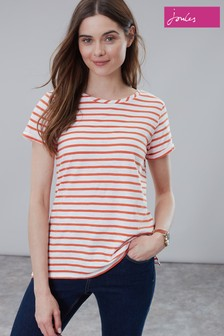 Joules Orange Nessa Stripe Lightweight Jersey T-Shirt