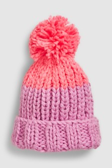 Hand Knitted Pom Beanie Hat (Older)