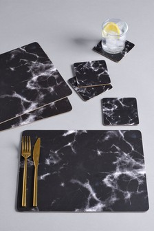 Set of 4 Black Marble Placemats And Coasters
