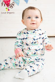 Frugi Organic Puffin Print Babygrow With Built In Scratch Mitts