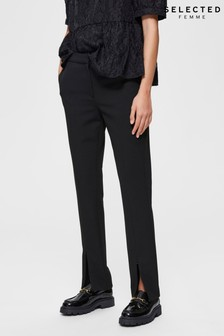 Selected Femme Black Zip Slim Leg Trousers