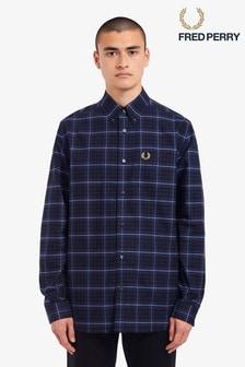 Fred Perry Navy Tonal Check Shirt