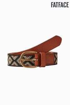 FatFace Black Aztec Woven Leather Belt