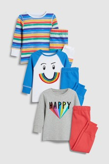 Rainbow Snuggle Fit Pyjamas Three Pack (9mths-8yrs)