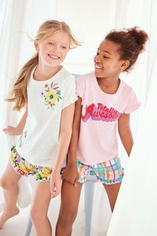Awesome/Floral Short Pyjamas Two Pack (3-16yrs)