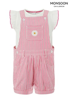 Monsoon Pink Baby Hattie Dungaree