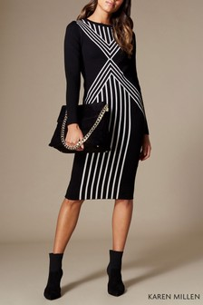 Karen Millen Black Chevron Stripe Knit Collection