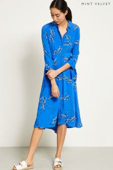 Mint Velvet Blue Blossom Print Shirt Dress