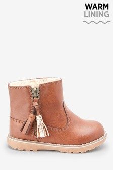 Warm Lined Tassel Ankle Boots (Younger)
