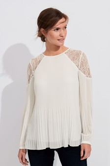 Lace Insert Pleat Blouse