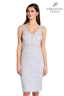 f70fba9cfe0 Adrianna Papell Blue Beaded Short Dress