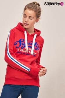 Superdry College Red Stripe Sleeve Over Head Hoody