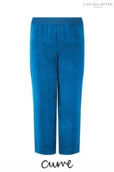 Live Unlimited Blue Cupro Wide Leg Trouser