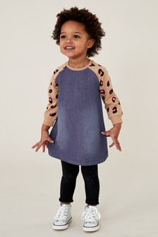 Animal Jersey Sleeve Dress (3mths-7yrs)