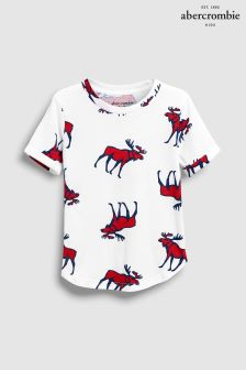 Abercrombie & Fitch White All Over Moose Print T-Shirt