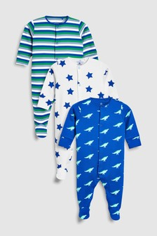 Dino Print Sleepsuits Three Pack (0mths-2yrs)