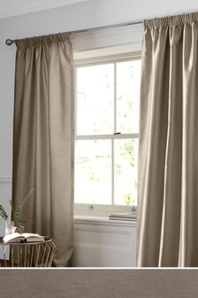 Faux Silk Pencil Pleat Lined Curtains