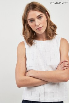 GANT White Broderie Anglaise Top