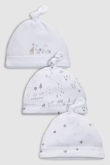 Delicate Woodland Tie Top Hats Three Pack (0-12mths)