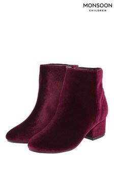Monsoon Red Mary Velvet Boot