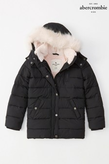 Abercrombie & Fitch Girls Black Parka With Pink Faux Fur