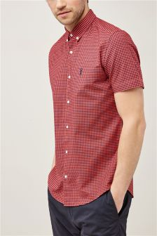 Short Sleeve Gingham Overdyed Shirt