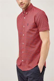 قميص مربعات بكم قصير صباغة كثيفة