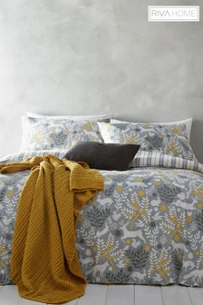 Riva Home Exclusive To Next Brushed Cotton Flannel Winter Stag Duvet Cover and Pillowcase Set