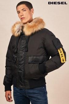 Diesel® Black Burke Hooded Bomber Jacket