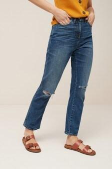Прямые джинсы с завышенной талией и рваными коленями