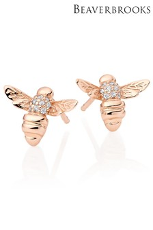 Beaverbrooks Silver Rose Gold Plated Cubic Zirconia Bee Earrings