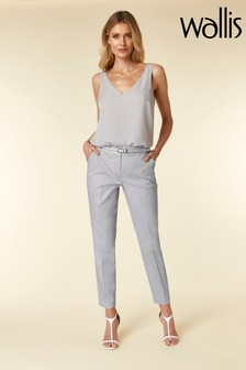 Wallis Grey Piped Belted Cigarette Trouser