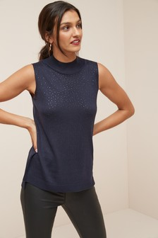 Embellished High Neck Top