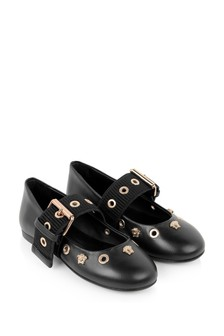 Versace Girls Black And Gold Leather Shoes