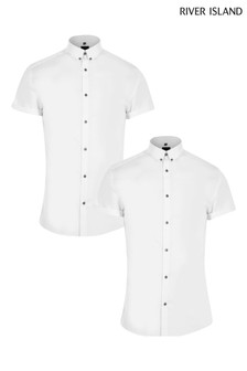 River Island White Muscle Shirts 2 Pack