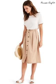Phase Eight Neutral Bel Marie Button Skirt