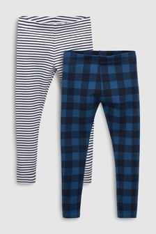 Stripe And Check Leggings Two Pack (3-16yrs)