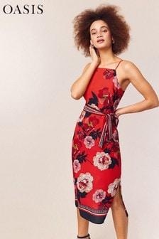 Oasis Red Botanical Scarf Column Dress