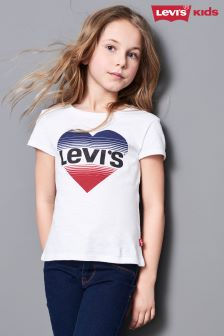 Levi's® Kids White Logo Heart Shape Tee