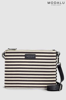 Modalu Grey Stripe Jessica Cross Body Bag