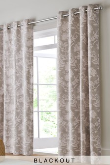 Pretty Floral Blackout Eyelet Curtains