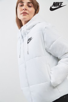 Nike White Synthetic Filled Jacket