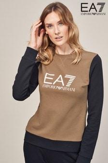 Emporio Armani EA7 Black/Brown Long Sleeve Top
