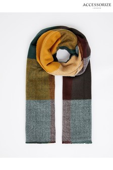 Accessorize Grey Colourblock Check Blanket