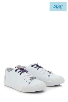 baker by Ted Baker White Younger Clean Lace-Up Trainer