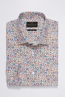 Signature Texta Fabric Floral Printed Slim Fit Shirt