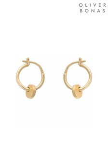 Oliver Bonas Gold Plated Brass Elsa Drop Hoop Earrings